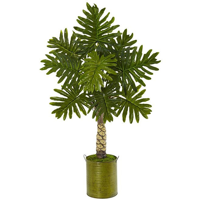 Nearly Natural 4.5' Monstera Artificial Tree in Green Metal Planter