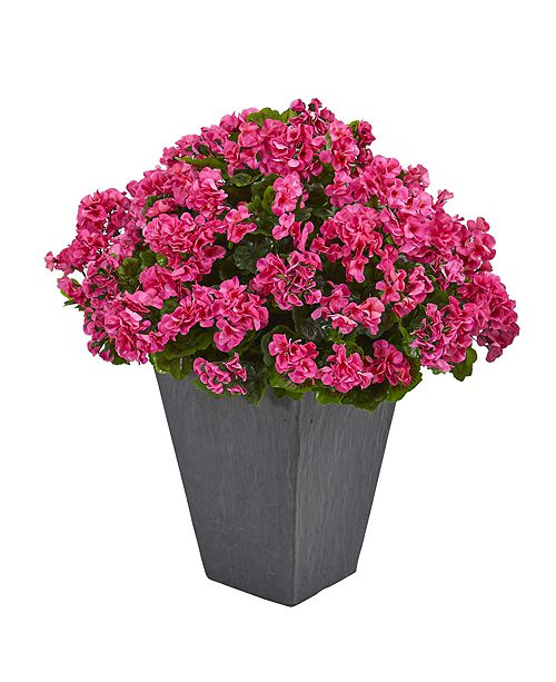 Nearly Natural Geranium Artificial Plant in Slate Plater UV Resistant