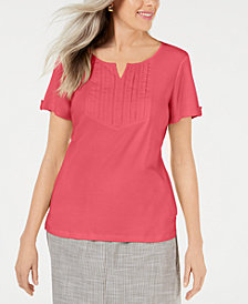 Karen Scott Petite Cotton Embroidered-Detail Split-Neck Top, Created for Macy's