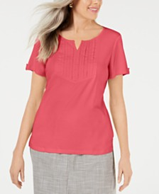 Karen Scott Petite Cotton Embroidered-Detail Split-Neck Top, Created for Macy's