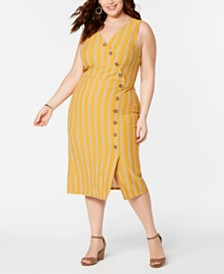 Planet Gold  Trendy Plus Size Striped Midi Dress