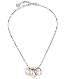 "Majorica Two-Tone Imitation Pearl Round Ring Pendant Necklace, 15"" + 2"" extender"