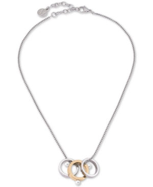 """Majorica Accessories TWO-TONE IMITATION PEARL ROUND RING PENDANT NECKLACE, 15"""" + 2"""" EXTENDER"""