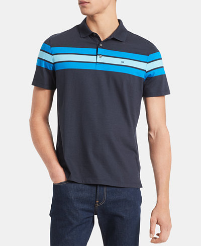 Calvin Klein Men's Big & Tall Slim-Fit Colorblocked Stripe Liquid Touch Polo Shirt
