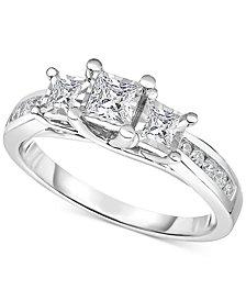 TruMiracle® Diamond Three-Stone Ring (1/2 ct. t.w.) in 14k White Gold