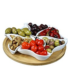 "Signature Modern 10.75"" 7 Piece Lazy Susan Appetizer"