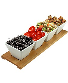 Elama Signature Modern 5 Piece Appetizer and Condiment Server