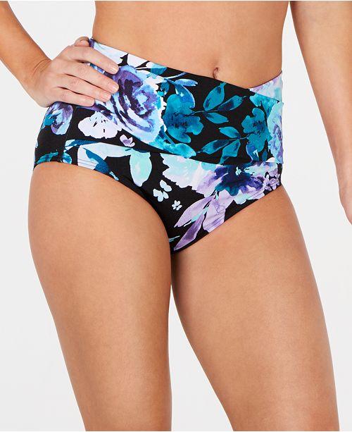 dc5f4d8817a7f ... Calvin Klein Printed High-Waist Tummy Control Bikini Bottoms ...