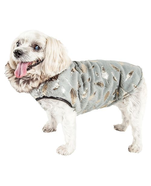 Pet Life Central Pet Life Luxe 'Gold-Wagger' Gold Leaf Fur Dog Jacket Coat