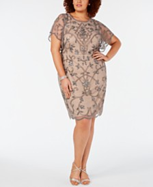 Adrianna Papell Plus Size Hand-Beaded Dress