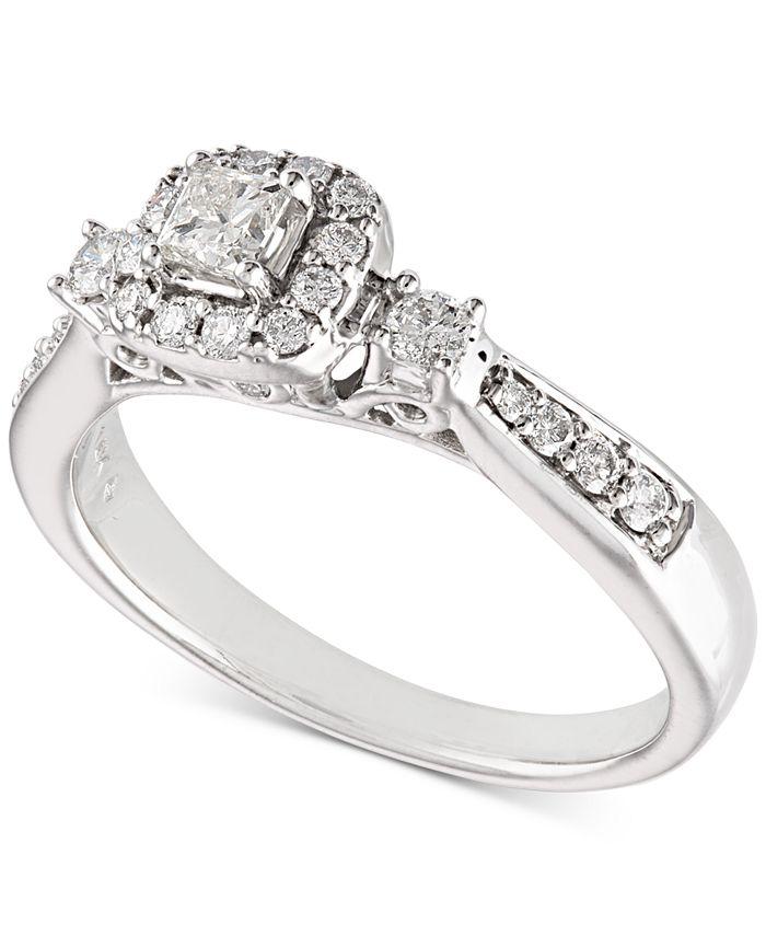 Macy's - Diamond Engagement Ring (1/2 ct. t.w.) in 14k White Gold