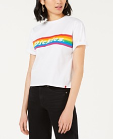Dickies Cotton Rainbow Stripe Crop T-Shirt