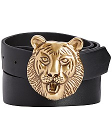 I.N.C. Men's Lion Buckle Belt, Created for Macy's
