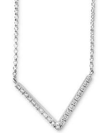 "EFFY® Diamond Chevron 18"" Statement Necklace (1/5 ct. t.w.) in 14k White Gold"