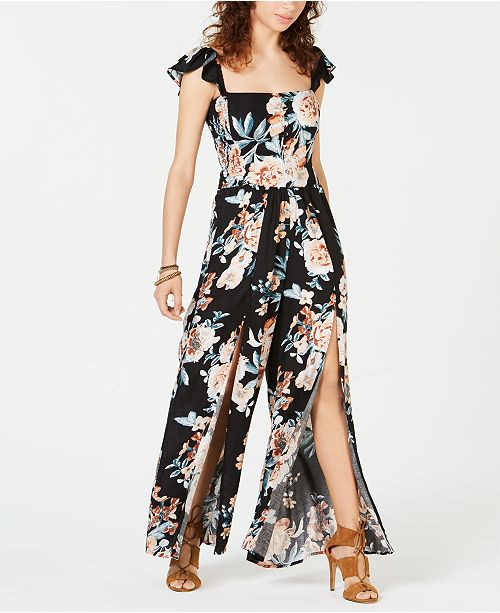 American Rag Juniors' Printed Flutter Jumpsuit, Created for Macy's