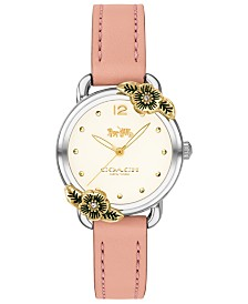 COACH Women's Delancey Tea Rose Blush Leather Strap Watch 28mm