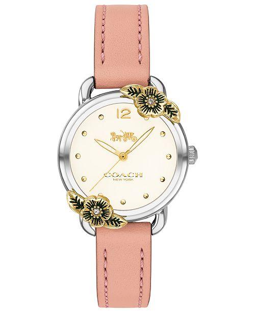 COACH Women's Delancey Tea Rose Blush Leather Strap Watch 28mm