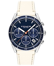 Men's Chronograph Thompson Sport Chalk Leather Strap Watch 41mm
