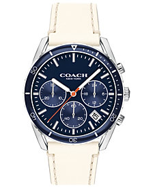 COACH Men's Chronograph Thompson Sport Chalk Leather Strap Watch 41mm