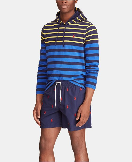 4eea4af062 Polo Ralph Lauren Men's Big & Tall Striped Hooded Long-Sleeve T-Shirt ...