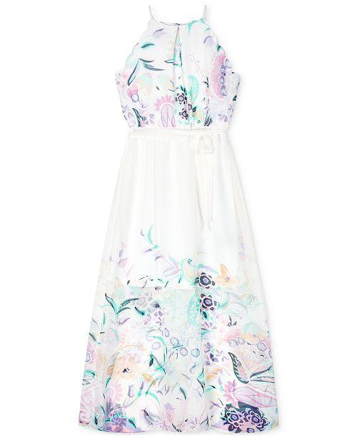 BCX Big Girls Plus-Size Printed Scalloped Maxi Dress