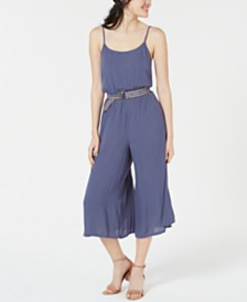 Planet Gold  Juniors' Belted Gaucho Jumpsuit
