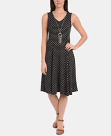 NY Collection Petite V-Neck Godet Dress with Necklace