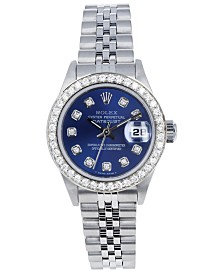 Pre-Owned Rolex Women's Jubilee with Blue Diamond Dial and Diamond Bezel, 26mm