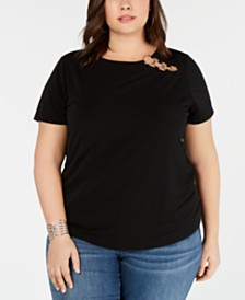 I.N.C. Plus Size Embellished T-Shirt, Created for Macy's