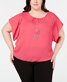 Plus Size Ruched-Neck Top with Necklace