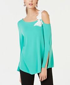 Alfani One-Shoulder Appliqué Top, Created for Macy's