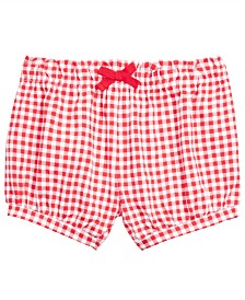 First Impressions Toddler Girls Check-Print Cotton Bloomer Shorts, Created for Macy's