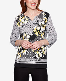 Alfred Dunner Petite Native New Yorker Geometric-Print Embellished Top