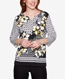 Alfred Dunner Native New Yorker Floral-Print Split-Neck Top