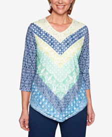 Alfred Dunner Cote D'Azur Printed Studded Top