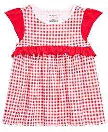 First Impressions Toddler Girls Gingham-Print Ruffle-Trim Top, Created for Macy's