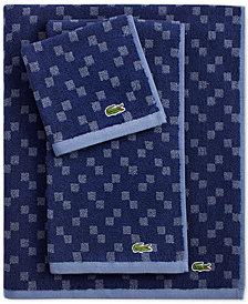 Lacoste Mini Squares Cotton Bath Towel Collection