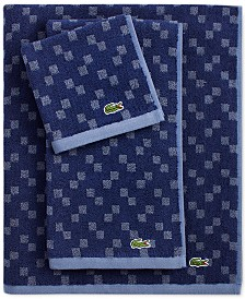 "Lacoste Mini Squares Cotton 16"" x 30"" Hand Towel"