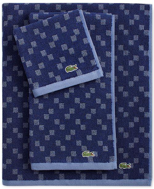 Lacoste Home Lacoste Mini Squares Cotton Bath Towel Collection