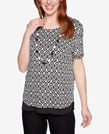 Alfred Dunner Native New Yorker Printed Necklace Top