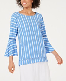 JM Collection Petite Bell-Sleeve Crinkle Top, Created for Macy's