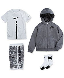 Nike Little Boys Hooded Windrunner Jacket, Elite Stripe T-Shirt, Printed Shorts & Crew Socks