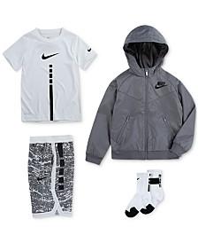 Nike Little Boys Hooded Windrunner Jacket, Elite Stripe T-Shirt, Printed Shorts & Crew Socks