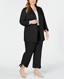 Alfani Plus Size Ruched-Sleeve Jacket, Created for Macy's