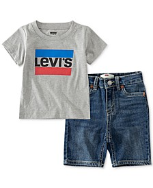 Baby Boys 2-Pc. T-Shirt & Denim Shorts Set, Created for Macy's