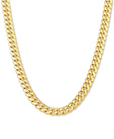 "Italian Gold Men's Miami Cuban Link 22"" Necklace in 10k Gold"