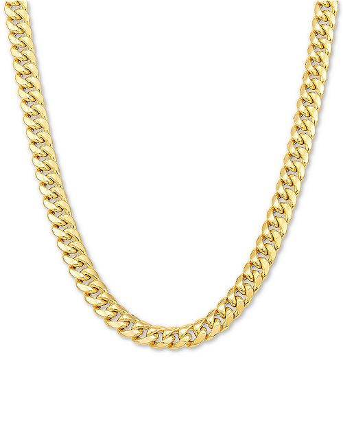 "Italian Gold Men's Miami Cuban Link 22"" Chain Necklace in 10k Gold"