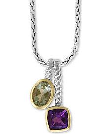 "EFFY® Multi-Gemstone (1-5/8 ct. t.w.) 18"" Pendant in Sterling Silver & 18k Gold-Plate"