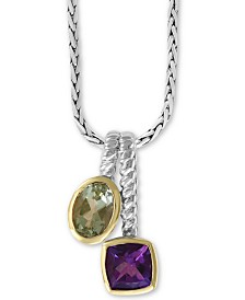 "EFFY® Multi-Gemstone (1-5/8 ct. t.w.) 18"" Pendant in Sterling Silver & 18k Gold-Plate"