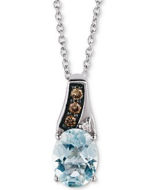 "Le Vian® Sea Blue Aquamarine (1 ct. t.w.) & Diamond Accent 18"" Pendant Necklace in 14k White Gold"